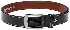 WildHorn Men Black Leather Belt (Size: 32 , Pack of 1 )