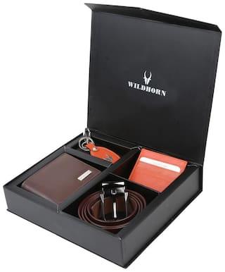 WildHorn Men s Brown Genine Leather wallet Combo