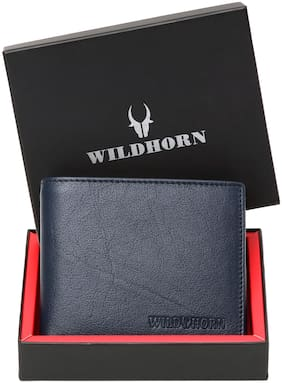 WILDHORN New RFID Protected Blocking Leather Blue Men's Wallet