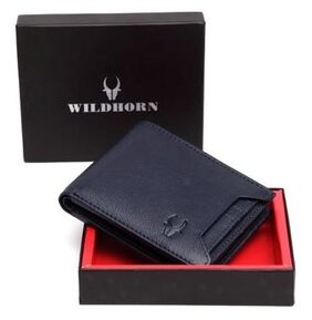 WildHorn Men Leather Bi-fold Wallet - Blue