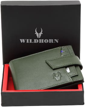 WildHorn Men Green Leather Bi-Fold Wallet ( Pack of 1 )