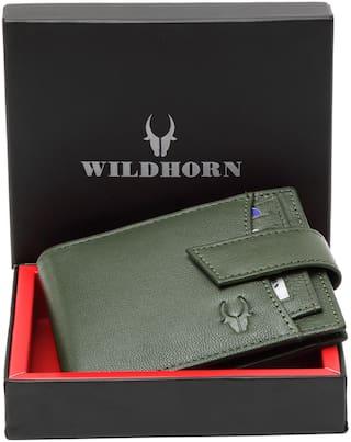 WildHorn Men Green Leather Bi-Fold Wallet ( Pack of 1 )