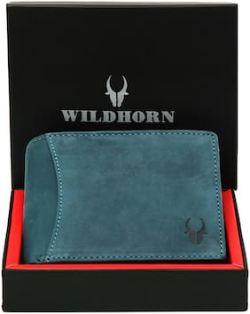 WildHorn Men Blue Leather Bi-Fold Wallet ( Pack of 1 )