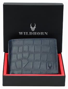 WildHorn Men Blue Leather Bi-Fold Wallet ( Pack of 1 )