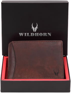 WildHorn Men Brown Leather Bi-Fold Wallet ( Pack of 1 )