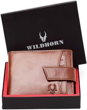 WildHorn Men Tan Leather Bi-Fold Wallet ( Pack of 1 )
