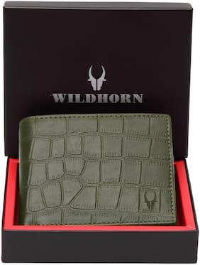 Men Leather Bi-Fold Wallet ( Green )