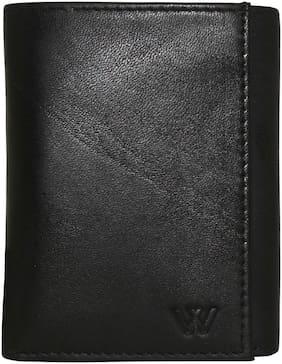 WILDLAND Men Black Leather Tri Fold Wallet ( Pack of 1 )