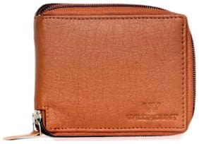 Wildmount Men Tan Leather Zip Around Wallet ( Pack of 1 )