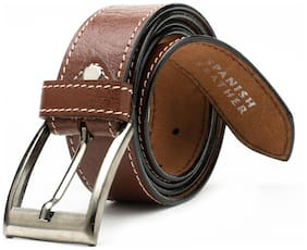Winsome Brown Stitching Leather Belt for Men's