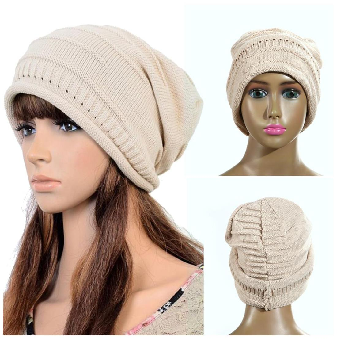 Buy Women Men Warm Ski Knitted Crochet Baggy Beanie Hat Cap Beret Beige Online at Low Prices in India - Paytmmall.com