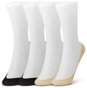 Women Solid Peds/Footie/No-Show, Low Cut, Peds/Footie/No-Show  (Pack of 4)