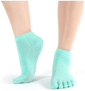 Womens Cotton Yoga Gym Non Slip Massage Toe Socks (Green)