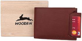 Men PU Bi-Fold Wallet ( Brown )