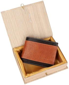 wooden brown leather men's wallet