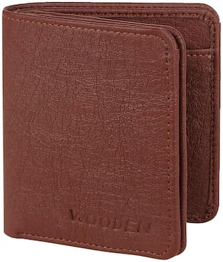 Wooden Men Brown Pu Tri Fold Wallet ( Pack of 1 )