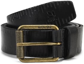 Woodland Men'S Black Leather Belt