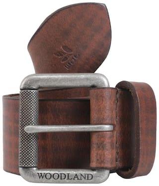 Woodland Men Tan Leather Belt (Size: 36 , Pack of 1 )