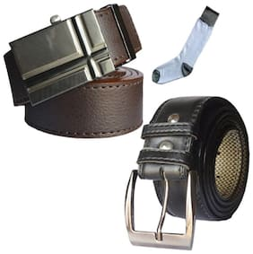 Ws deal men's brown leatherite auto lock buckle and black leatherite needle pin point buckle belts with white socks (pack of three) size from 28 to 40