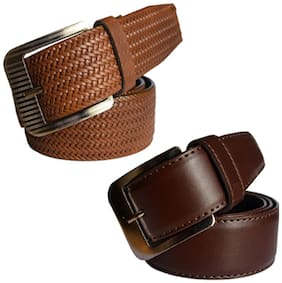 Ws deal men's brown leatherite needle pin point buckle belt (combo) size from 28 to 40