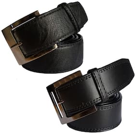 Ws deal men's black leatherite needle pin point buckle belt (combo) size from 28 to 40