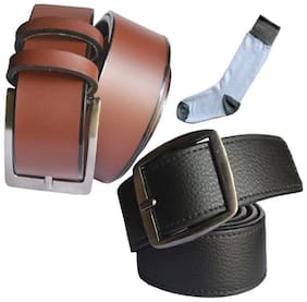 Ws deal men's brown and black leatherite needle pin point buckle belts with white shocks (pack of three) size from 28 to 40
