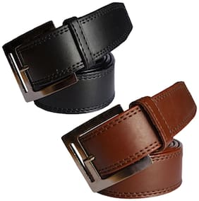 Ws deal men's black and brown leatherite needle pin point buckle belt (combo) size from 28 to 40