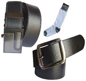 Ws deal men's black leatherite auto lock buckle and black leatherite needle pin point buckle belts with white socks (pack of three) size from 28 to 40