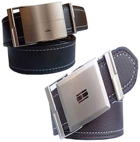 Ws deal mens black and brown leatherlite auto lock buckle belt (combo) size form 28 to 42