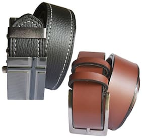 Ws deal mens black leatherlite auto lock buckle belt with brown leatherlite needle pin point buckle belt (combo) size form 28 to 40