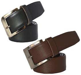 Ws deal mens black and brown leatherlite needle pin point buckle belt (combo) size form 28 to 40