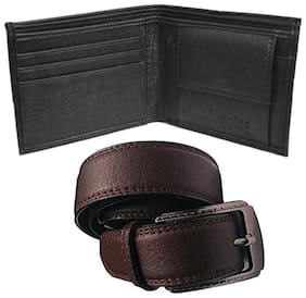 Ws deal mens black leatherlite needle pin point buckle belt with black bifold synthetic leather wallet (combo) size form 28 to 40