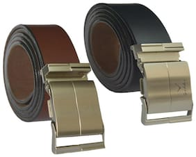 Ws deal mens brown and black leatherlite auto lock buckle belt (combo) size form 28 to 42