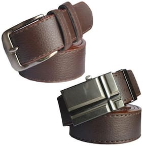 Ws deal mens brown leatherlite needle pin point buckle belt with brown leatherlite auto lock buckle belt (combo) size form 28 to 40
