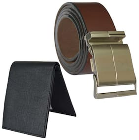 Ws deal mens brown leatherlite auto lock buckle belt with black bifold synthetic leather wallet (combo) size form 28 to 42