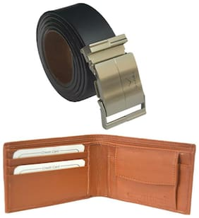 Ws deal mens black leatherlite auto lock buckle belt with tan colour bifold synthetic leather wallet (combo) size form 28 to 42