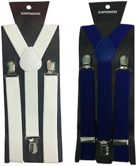 Y- Back Suspenders(white & Royal Blue Color)