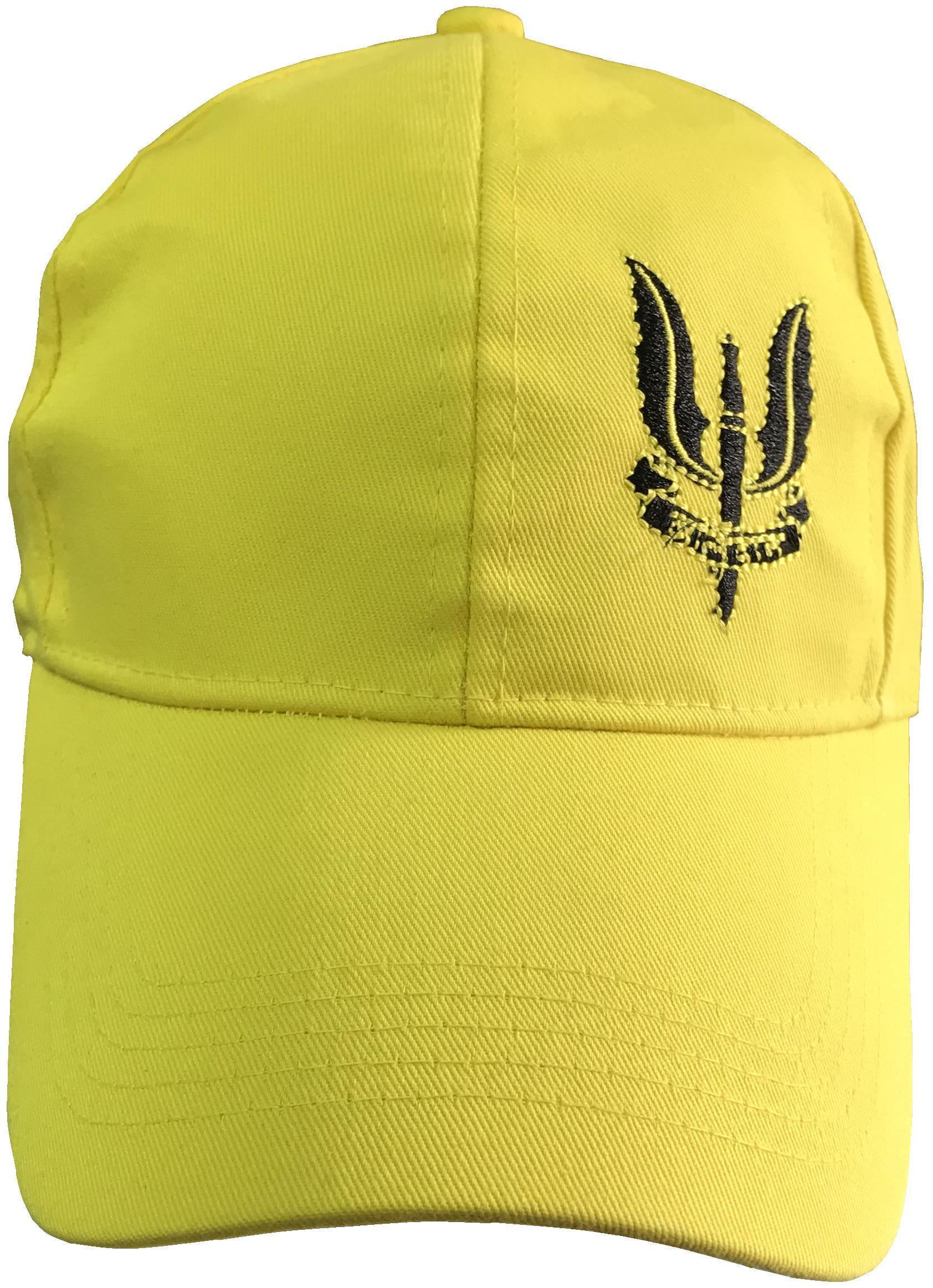 Saifpro Yellow Solid Plain Balidaan Black Embroidered Baseball Cap