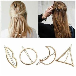 Ziesha Women Hair clip ( Gold , Set of 4 )
