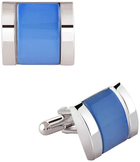 ZIVOM Crystal Sky Blue Silver Rhodium Plated Brass Formal Shirt Blazer Suit Cufflinks Pair Men Gift Box