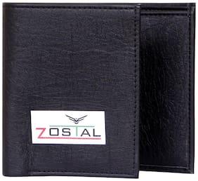 Zostal Men Black Pu Tri Fold Wallet ( Pack of 1 )