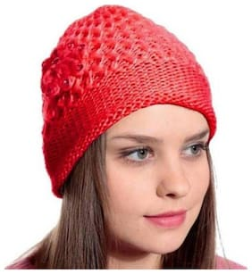 ZUKUNFT FASHION Wool Caps - Red