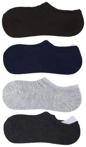ZUKUNFT FASHION Multi Cotton No show socks ( Pack of 4 )