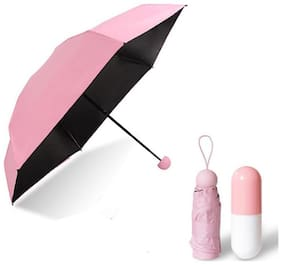 ZVR Foldable Portable Pink Umbrella with pill shape Case (Pink)(Platinum Series)