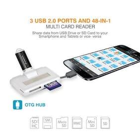 Amkette OTG USB Hub & Card Reader for Smartphones & Tablets (White)