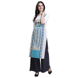 1 Stop Fashion Women White Printed Straight Kurta