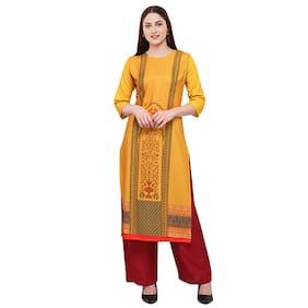 1 Stop Fashion Women Yellow Printed Straight Kurta