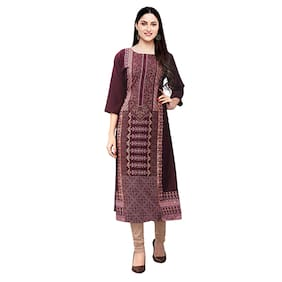 1 Stop Fashion Women Wine Printed Straight Kurta