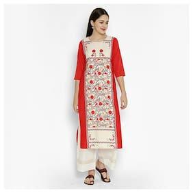 1 Stop Fashion Women Red Floral Regular Kurta