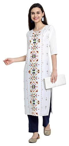 1 Stop Fashion Women White Printed Regular Kurta